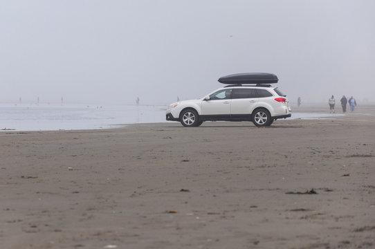 A white SUV in Pacific beach area, Ocean Shores, WA