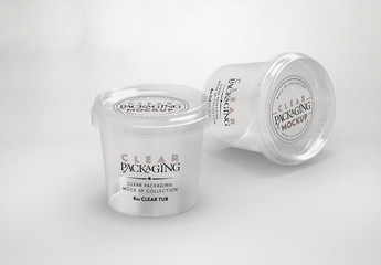 Clear Round Plastic Containers Mockup