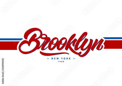 Brooklyn, New York typography in college style  Vector