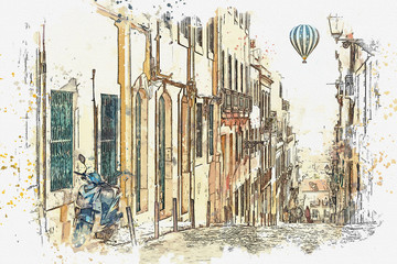 A watercolor sketch or an illustration. View of a beautiful street in Lisbon in Portugal. Traditional European architecture. Hot air balloon flies in the sky.