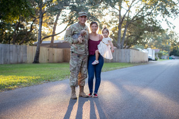 Portrait of a soldier and his family