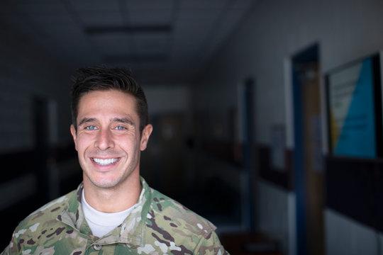 Portrait of soldier smiling