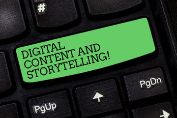 Word writing text Digital Content And Storytelling. Business concept for Marketing advertising optimization strategy Keyboard key Intention to create computer message pressing keypad idea