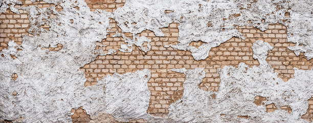 Fototapete - Old urban background, white ruined industrial brick wall with copy space