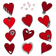 Set of red heart shapes. Vector illustration for Valentine's day cards.
