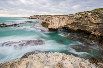 Sandstone cliffs on coastline