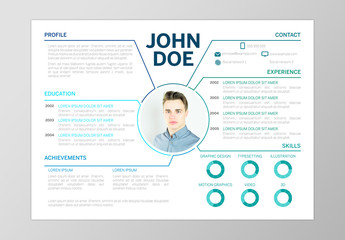 Resume Layout with Blue Accents and Section Markers
