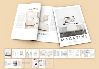Magazine Layout with Gray and Peach Accents