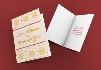 Christmas Greeting Card Layout with Glittery Illustrations