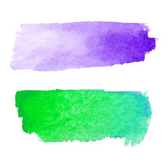 Set of abstract stains. Purple and green colors. Bright creative horizontal backdrop. Watercolor texture with brush strokes.Spots Isolated in white background. Trendy colorful design.Hand painted.EPS.
