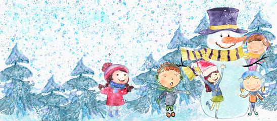 Children with snowmen. Children illustration.Watercolor background