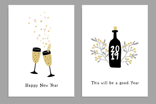 Set of Happy New Year greeting cards, party invitations with hand drawn wine glasses, bottle and confetti stars. Handlettered text. Isolated vector illustrations, white background.