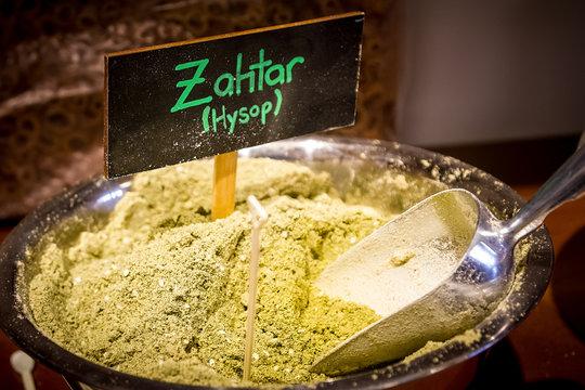 Zahtar or Zahtar. Arabic spice mixture.