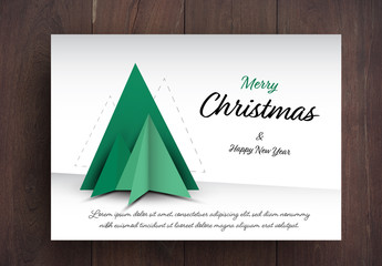 Christmas Card Layout with Tree Element