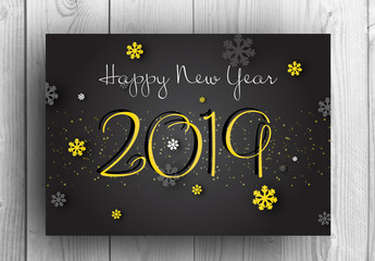 Happy New Year Card Layout With Yellow Accents