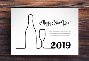 New Years Card Layout with Bottle and Glass Outline