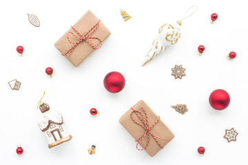 Christmas decoration on white background, top view, flat lay