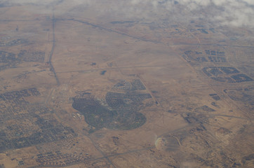 Aerial view of Egypt desert and mauntains. Airplane view background
