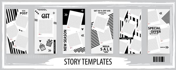 Trendy editable template for social networks stories, vector illustration.