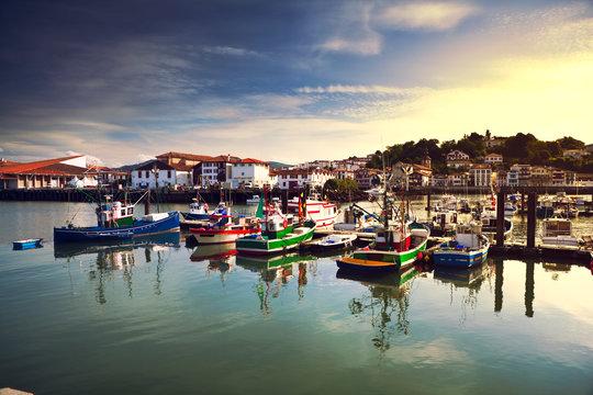 Fishing boats in Saint Jean de Luz harbour in Pays Basque, France