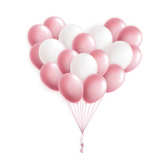 Pink and white heart shaped balloons. Bunch of balloons