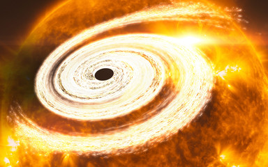 Orange giant  black hole. Science fiction. Trouble in the space. Death of the star. Elements of this image furnished by NASA