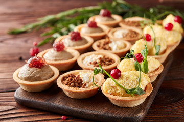 Set of appetizers with assorted filling