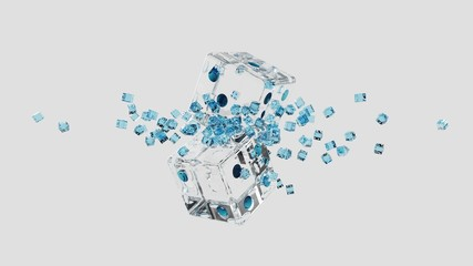 rendering 3d glass broken dice and many small dices