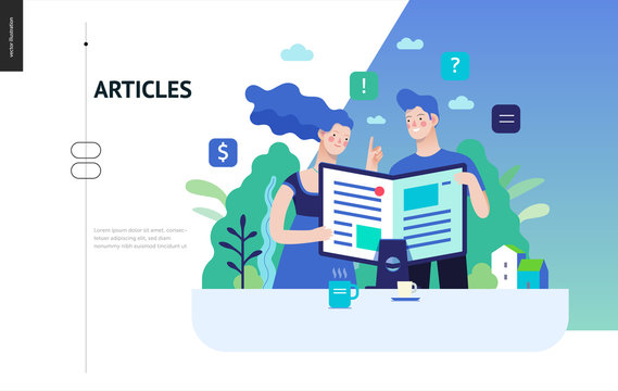 Business series, color 3 - articles - modern flat vector illustration concept of man and woman reading article on the folded computer screen like a magazine. Creative landing page design template