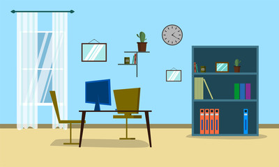 Business Office Flat  Vector Illustration.  Workspace with Table and Computer Inside Company Building.  Modern Boss Cabinet with Furniture and Window. Corporate Place.