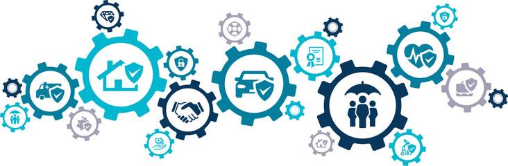 insurance coverage concept – vector illustration