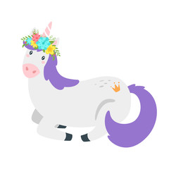 Cute unicorn. Fairytale animal