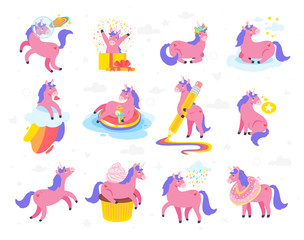 Cute unicorn. Fairytale animal