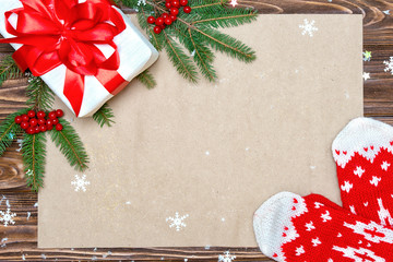 Christmas background.Xmas festive card.Top view.Kraft paper for holiday greetings.New Year , holidays concept.