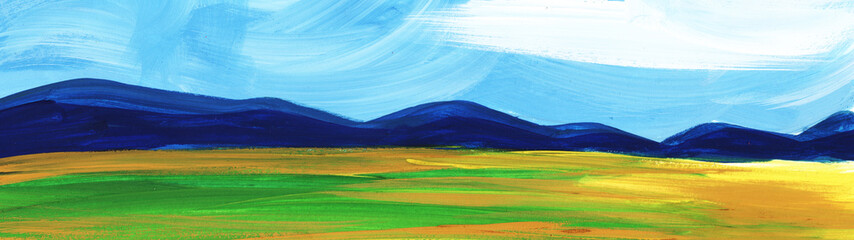 Abstract landscape. Mountains forest under blue sky and fields.