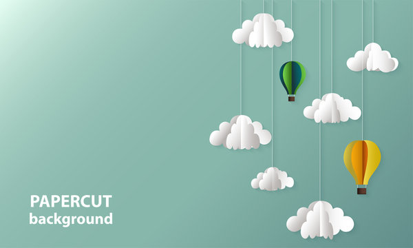 Vector background with paper cut shapes of clouds and balloons. 3D abstract paper art style, design layout for business presentations, flyers, posters, decoration, cards, brochure cover, banners.