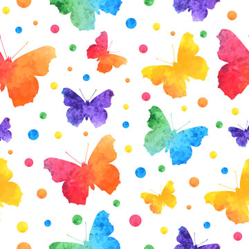 Colorful watercolor seamless pattern with cute butterflies isolated on white background. eps10.