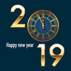 Carte de vœux 2019 de format carré, à l'élégance britannique, reprenant le cadrant de l'horloge de Big Ben juste avant les 12 coups de minuit