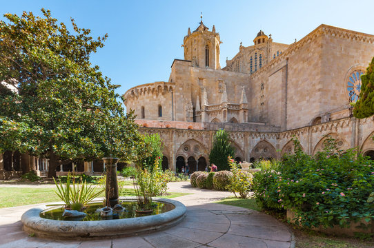 A wideangle view of Tarragona Cathedral and Gardens in the Spanish city of Tarragona