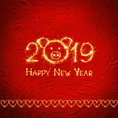 Square creative Greeting card Happy New Year 2019