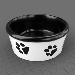 Hounds white ceramic dog bowl