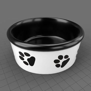 Hounds white ceramic dog bowl