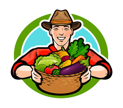 Happy farmer holding a wicker basket full of fresh vegetables. Agriculture, farm, farming concept. Cartoon vector illustration