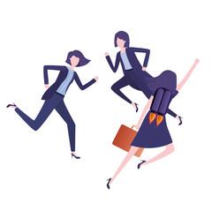 businesswomen with rocket avatar character