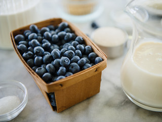 Fresh Blueberries with milk and sugar