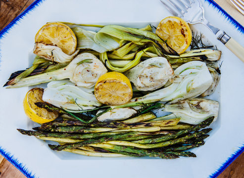 Close up of grilled vegetables served on plate
