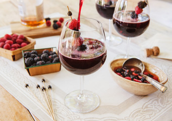 Red Sangria with berries