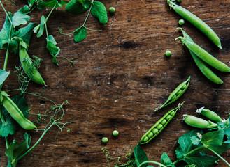 Green pea still life