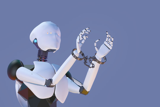 Robot slaved by handcuffs on the wrists, 3D render of humanoid artificial intelligence.
