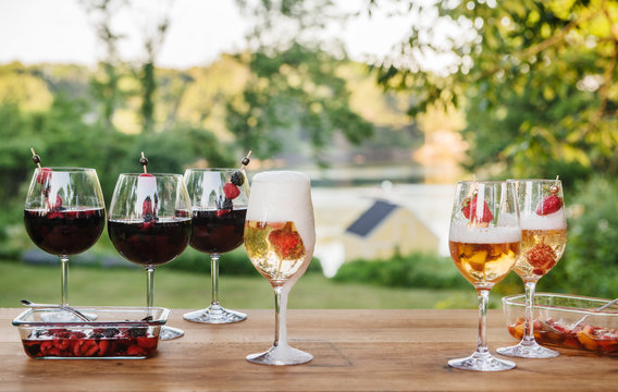 Red and white Sangria in an outdoor setting